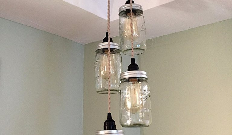Mason Jar Chandelier Swag Light